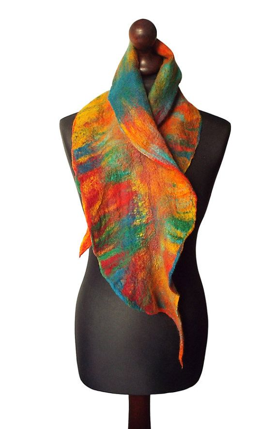 Felted collar made from finest Australian merino wool and hand dyed cotton gauze. Colors: multicolor - yellow, shades of orange, shedes of red, turquoise, green, petrol blue, petrol green.  Size: length: 119cm (46,85) width: 12 - 25cm (4,72 - 9,84)  Visit my fan page on Facebook: www.facebook.com/pracownia.artystyczna.arteduo  More scarves you can find here: www.etsy.com/shop/MarlenaRakoczy?section_id=14901313&ref=shopsection_leftnav_1