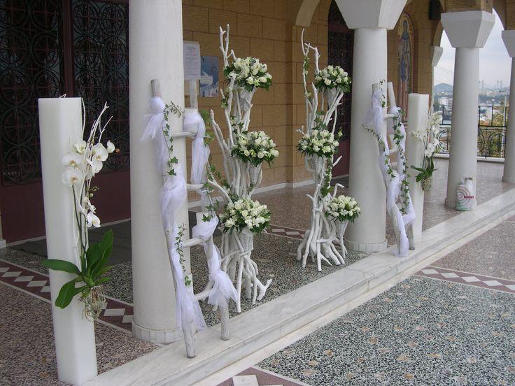 τηλ 6976773699..διακόσμηση γάμου με λευκά άνθη & λευκές βάσεις από θαλασσόξυλα... αναλαμβάνουμε τον στολισμό του γάμου σας αλλά μπορούμε να σας φτιάξουμε και δικες σας βάσεις για να τον διακοσμήσετε μονοι σας..