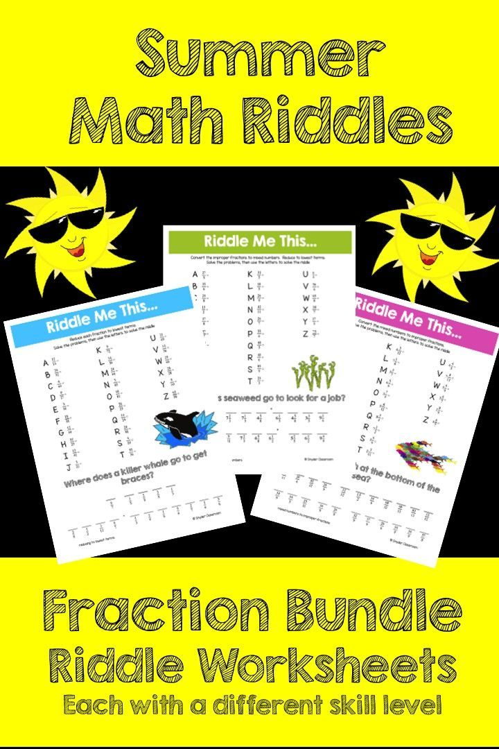 Equivalent Fractions , Improper Fractions and Mixed Numbers Math Riddles Pack  This activity is full of computation practice. The students also have a goal of solving a riddle at the end. It is a great way to combine fun and learning!