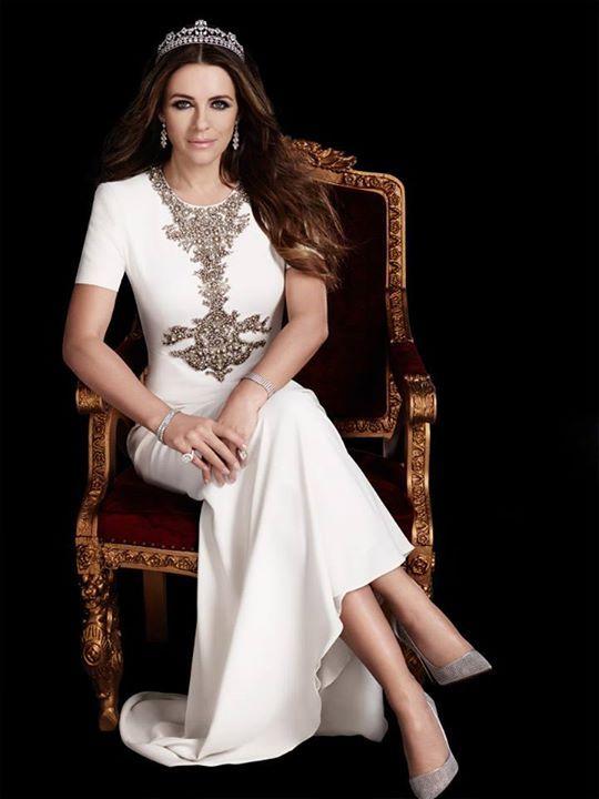Elizabeth Hurley looks ravishing wearing the stunning tiara designed by jewelry designer Reena Ahluwalia for Royal Asscher Diamonds. Season 2, The Royals on E. Image: ©2015 Gavin Bond Photography