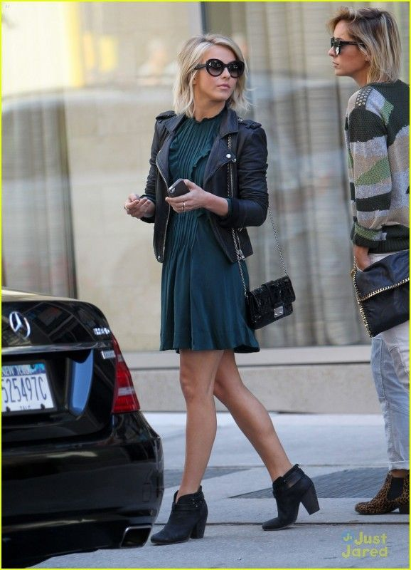 Julianne Hough wearing Rag & Bone Harrow Boots, IRO Ashville Leather Jacket, New York City September 30 2013