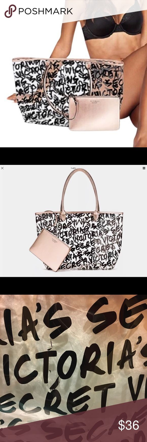 VICTORIA SECRET Clear Graffiti Logo Tote Bag Victoria secret clear tote bag with rose gold zip clutch 2017 NWT! Victoria's Secret Bags