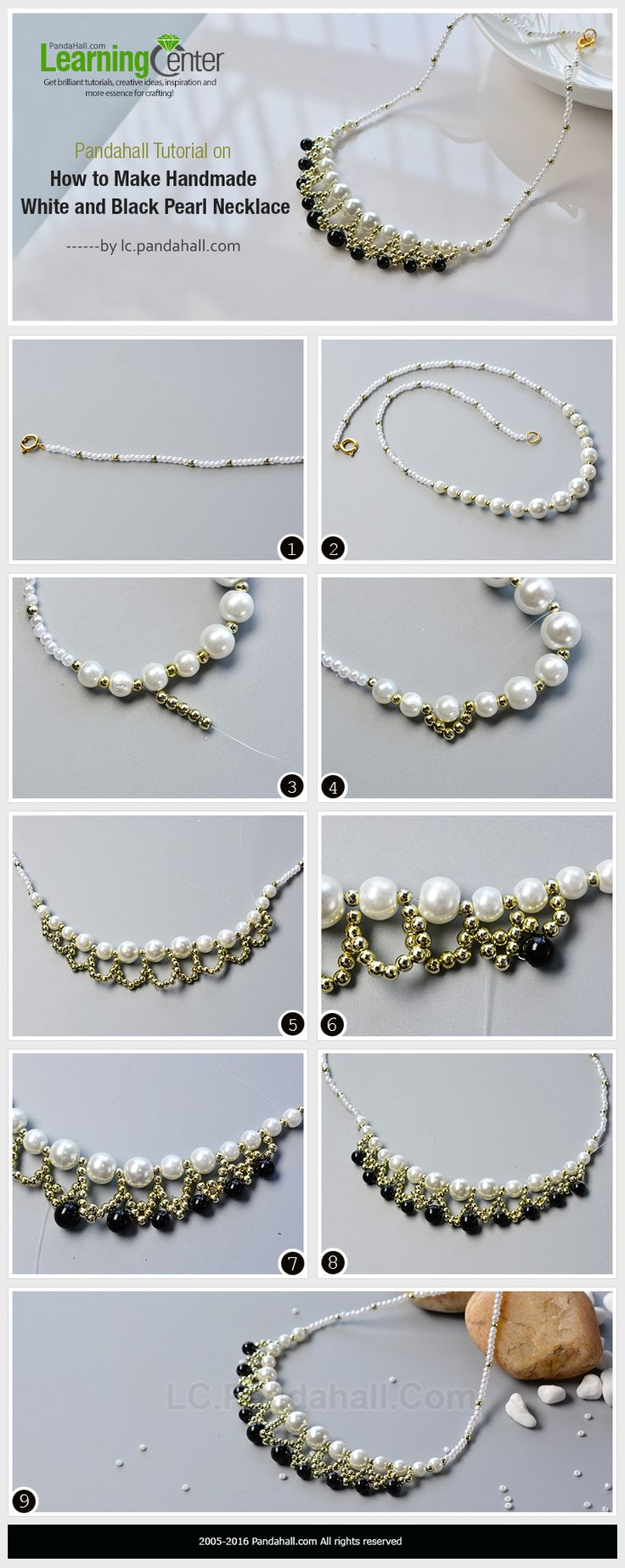 Pandahall Tutorial on How to Make Handmade White and Black Pearl Necklace from LC.Pandahall.com