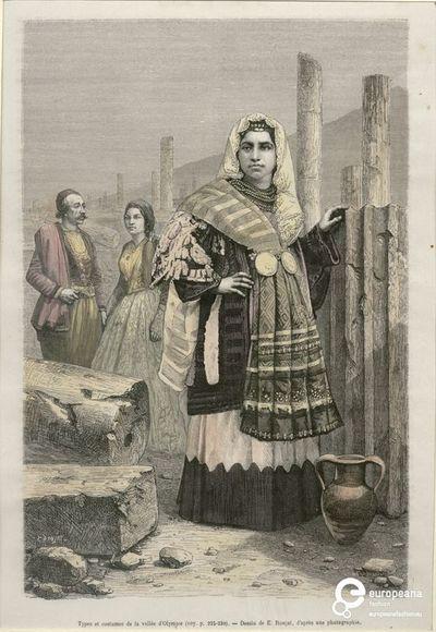 """Γυναίκα με φορεσιά από την Τανάγρα σε αρχαιολογικό χώρο. Πίσω άνδρας και γυναίκα με αστικές φορεσιές. Επιγραφή: """"Types et costumes de la vallée d'Olympie (voy. p 225-230) - Dessin de E.Ronjat, après une photographie"""". Υπογραφές: """"E.RONJAT"""", """"HILDIBRAN.SC"""". Από το περιοδικό """"Le Tour du Monde"""" Paris 1884, τευχ. XLVII, σελ. 233. Ημερομηνία Δημιουργίας: 1884. Συλλέκτης: Peloponnesian Folklore Foundation Ίδρυμα: Europeana Fashion. Συλλέκτης: Peloponnesian Folklore Foundation Ίδρυμα: Europeana…"""