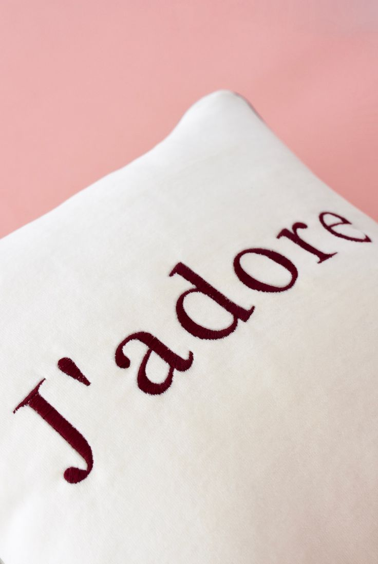 Velvet j'adore embroidered cushion