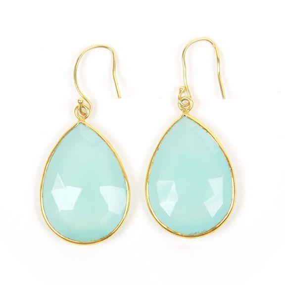 Tear Drop Earrings in Sea Foam ChalcendonyTear Drop Earrings, Tears Drop Earrings, Accessories, Birthday Ideas