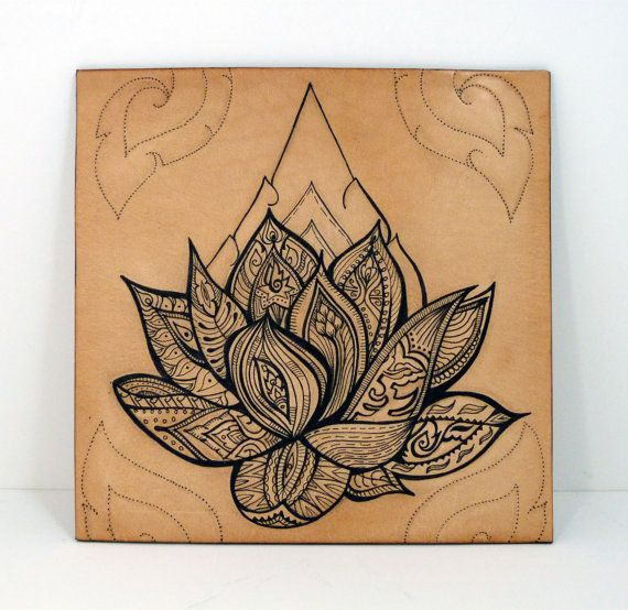 Tattooed leather original & unique artwork: Illustrated Lotus Flower (mono) in tattoo style. £90.00, via Etsy.