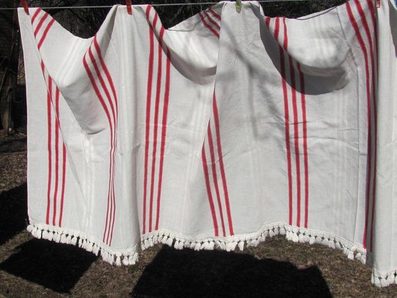 """Antique Curtain H30""""x L72"""" Scandinavian Vintage Curtain; Cream & Red Woven Cotton Curtain with Stripes; Old Rustic Curtain; Antique Fabric"""