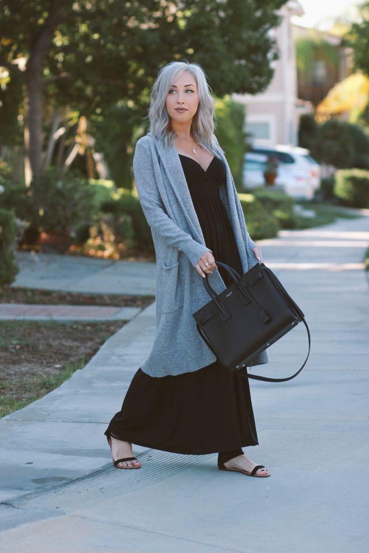Blondie in the City   Long Comfy Cardigan   Fall Fashion   Black Maxi Dress   Saint Laurent Sac De Jour