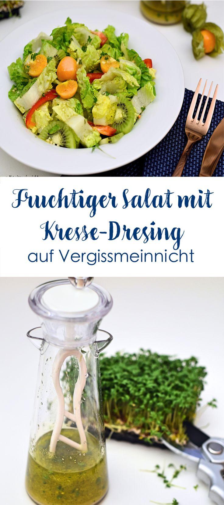 Leckeren fruchtigen Salat mit einem Kresse Dressing. Außerdem eine Anleitung für die Aufzucht von frischer Kresse.
