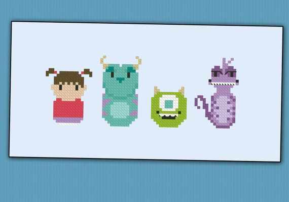 Monsters Inc. parody Cross stitch PDF pattern por cloudsfactory