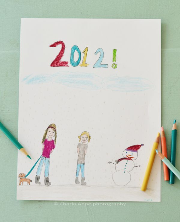 have kids color the date for cover of family photo books