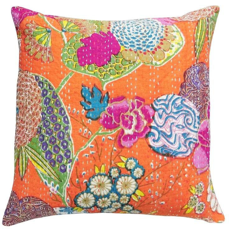 Kantha Cushion Pillow Cover Orange Floral Print Handmade Cotton Throw Indian Decorative Art - PL2147. $12.99, via Etsy.