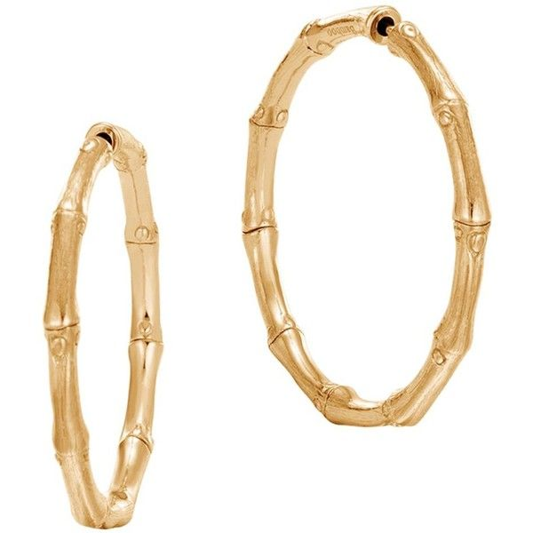 John Hardy 18K Yellow Gold Bamboo Medium Hoop Earrings (€2.165) ❤ liked on Polyvore featuring jewelry, earrings, 18k gold earrings, 18 karat gold jewelry, 18k yellow gold earrings, earring jewelry and gold bamboo earrings