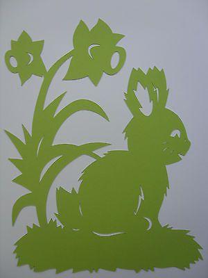 Fensterbild Frühling Ostern Tonkarton Osterhase Hase m. Narzissen grün  30 cm
