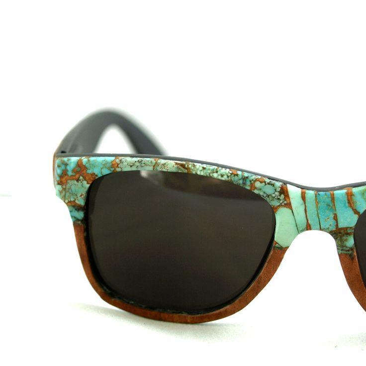 Turquoise and Sapele wood veneer classic sunglasses - gorgeous!