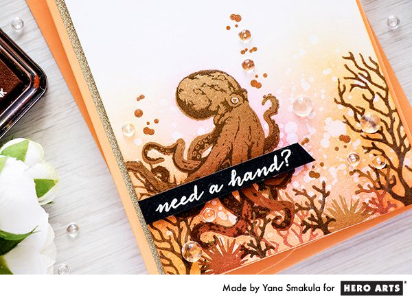 Hero Arts | Color Layering Octopus and Pigment Ombre Inks - Need A Hand Card