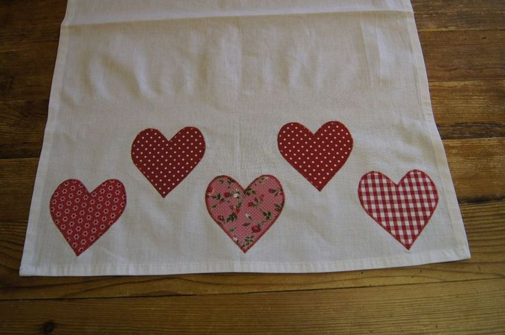 Handmade shabby chic hand decorated tea towel with large red hearts
