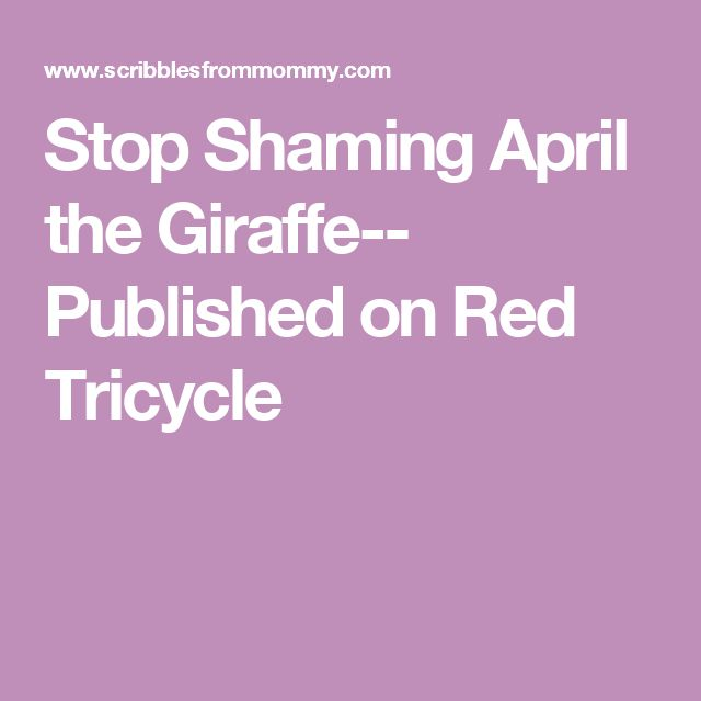 Stop Shaming April the Giraffe-- Published on Red Tricycle