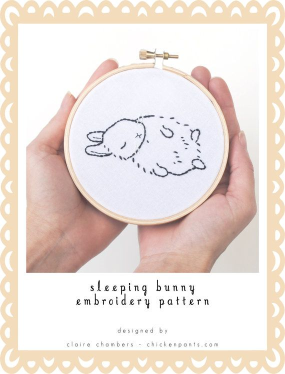 This tiny (miniature!) hand embroidery pattern features a sleeping bunny / rabbit. This fast and simple embroidery pattern is great for making