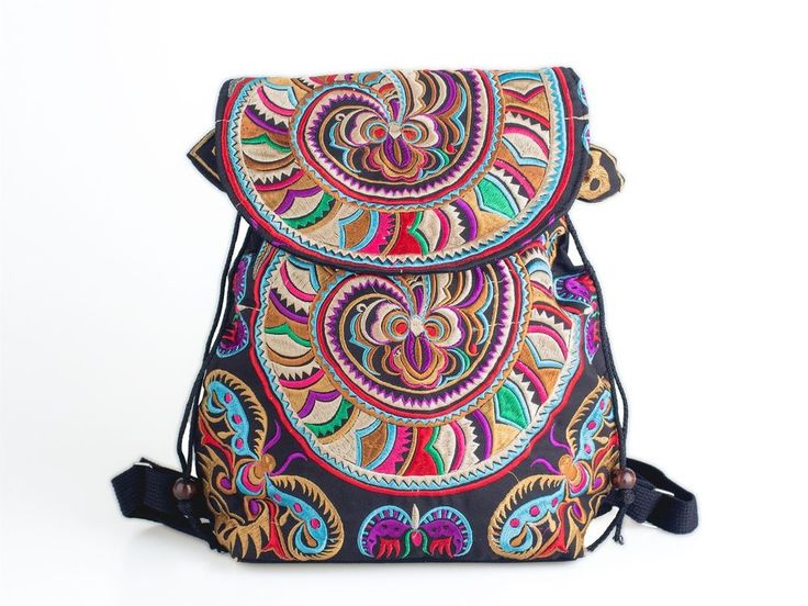 Hippie Backpack Fair Trade Bag Boho Ethnic Hmong Tribal Embroidered Thailand #Handmade #Backpack
