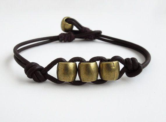Men's leather bracelet - Mens brass and leather bracelet by indiecreativ, $32.00