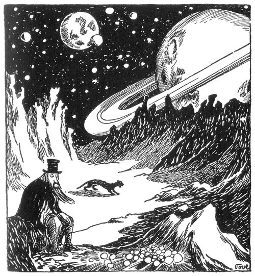 Tove Jansson, Trollkarlens hatt, the Hobgoblin's Hat part of the book about Moominvalley. The Hobgoblin who rides a panter, is looking for the King's Ruby. He's tired and resting on the Moon.