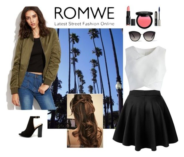 """""""ROMWE Army green Jacket"""" by cechang ❤ liked on Polyvore featuring Chicwish, Bamboo, River Island, NYX, Christian Dior and Forever 21"""