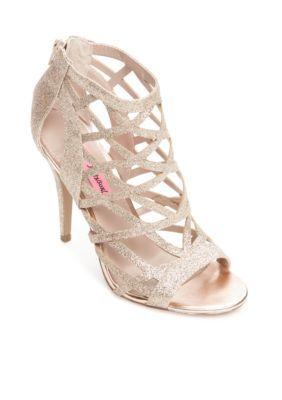 Betsey Johnson Women's Juliette Strappy High Heel Sandal - Champagne - 9.5M