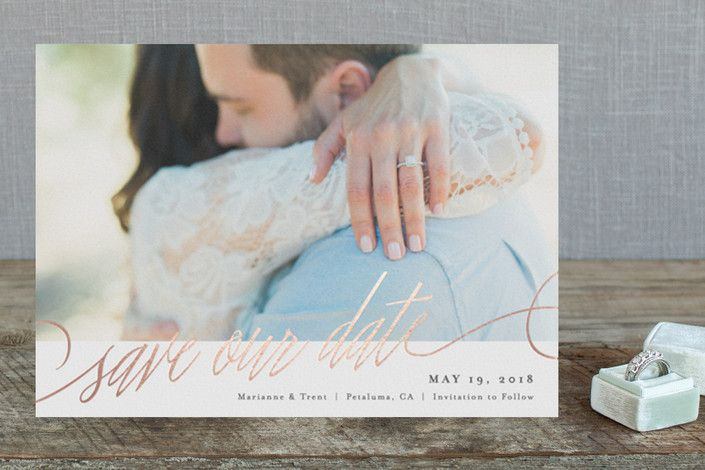 Scripted Foil-Pressed Save The Date Cards by Carol... | Minted