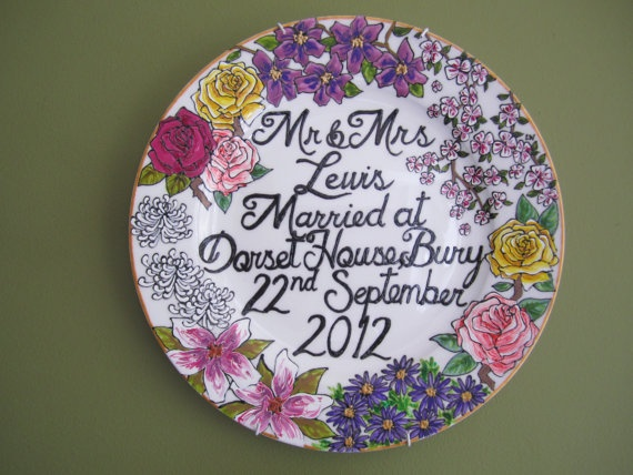 Hand painted floral wedding plate - personalised gift or decoration via Etsy