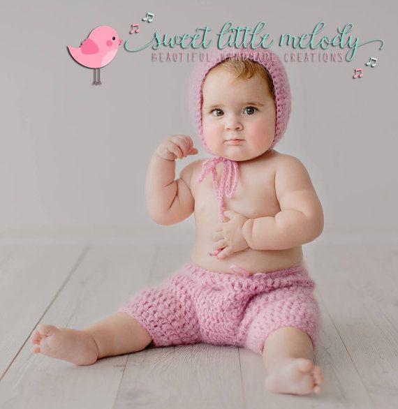 Baby Photo Prop bonnet Newborn Bonnet Shorts by SweetLittleMelody