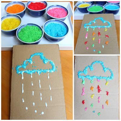 Realización del teñido de arroz en colores. Creación de distintas formas, utilización de la imaginación y el estímulo sensorial.