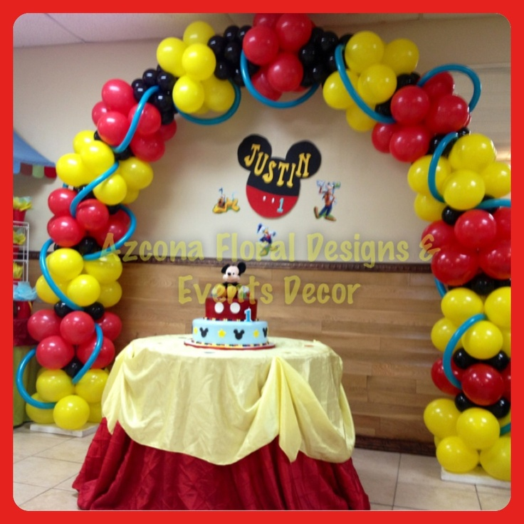 Mickey mouse birthday balloons arch balloons decor for Arch balloons decoration