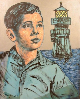 "DAVID BROMLEY ""Boy With Lighthouse"" Acrylic on Linen, Signed 150cm x 120cm"