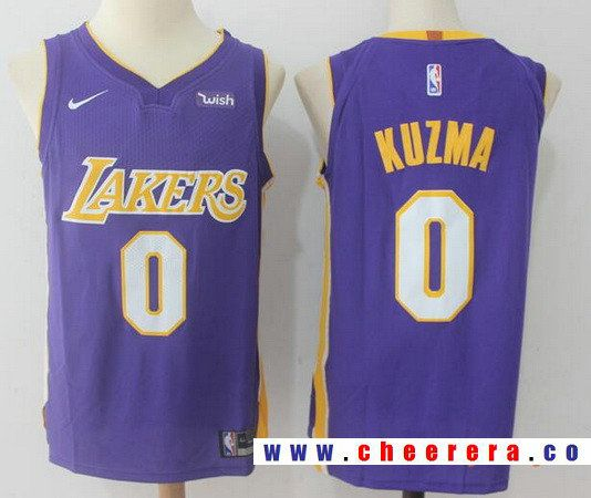 quality design 81b55 2b05e Men's Los Angeles Lakers #0 Kyle Kuzma New Purple 2017-2018 ...