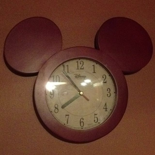 Cherry wood Mickey Mouse kitchen clock.