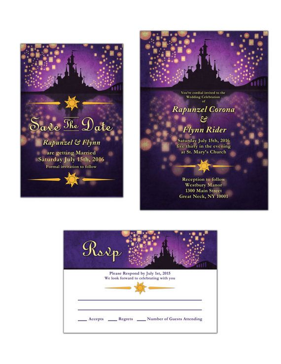 DIY Disney inspired Tangled Wedding Invitation by JasmineVictoria, $20.00 #Tangled #WeddingInvitation #Rapunzel