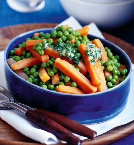 Prepared carrot batons and peas with mint butter make a classic accompaniment to any dish.
