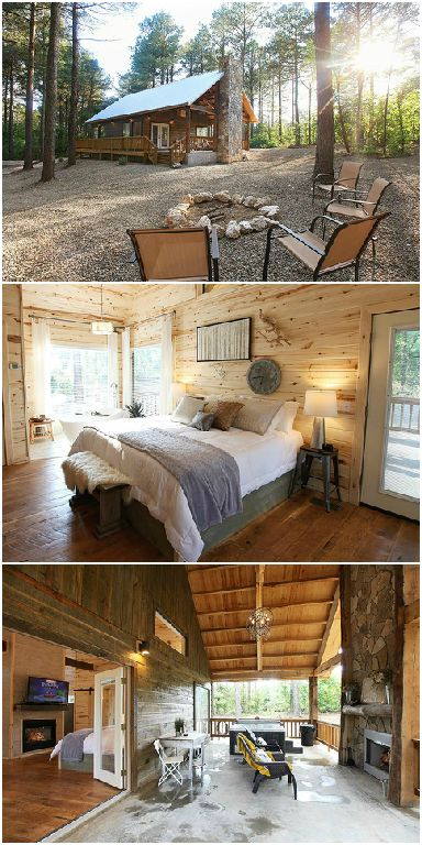 Offering honeymoon cabins for two up to large cabins that can hold an entire family reunion, the gorgeous and luxurious Hidden Hills Cabins in Broken Bow, Oklahoma can accommodate any size group. They are also conveniently located just a short drive from Beavers Bend State Park.