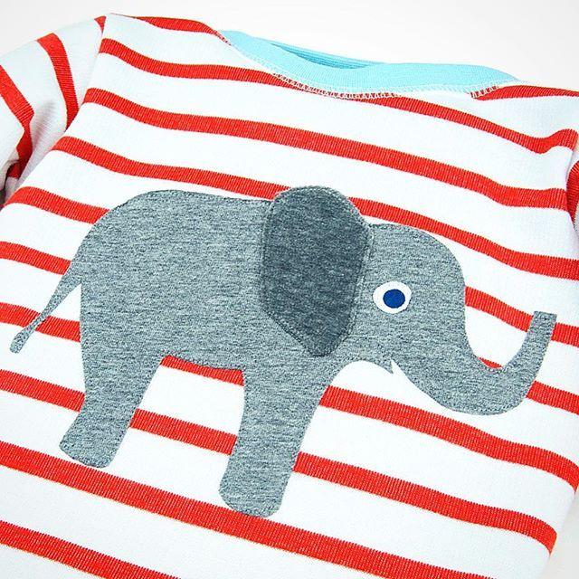 Rot weiß gestreiftes Shirt für Kinder mit aufwändiger Elefanten-Applikation aus 100% Bio Baumwolle - nachhaltig & fair hergestellt in Dresden, Deutschland