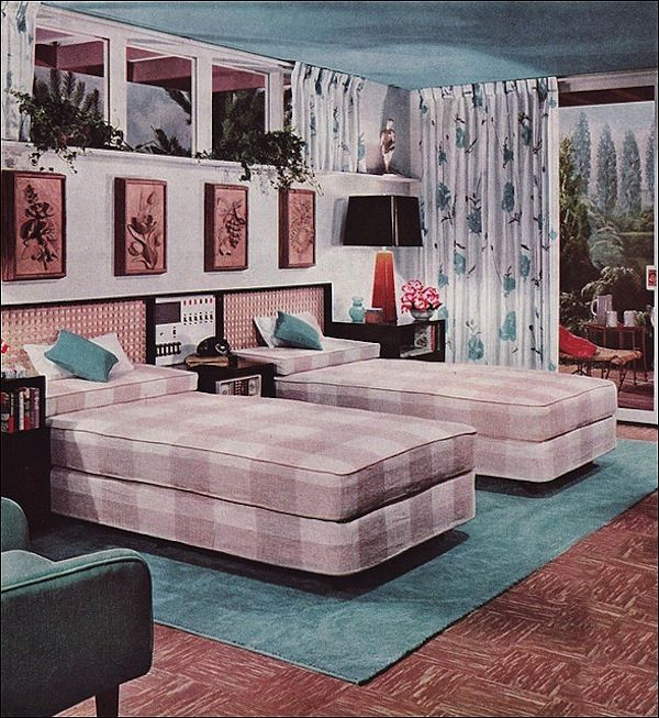 Midcentury Modern Retro Interior Design Decoration Decor 1950s 1960s Twin Beds