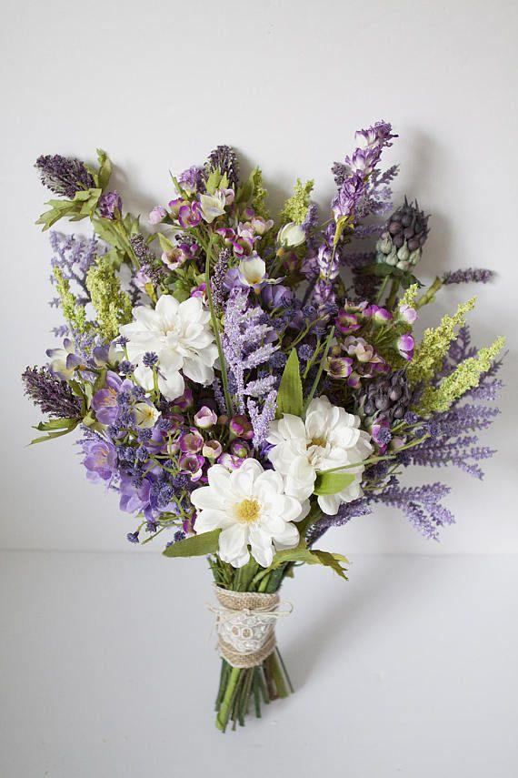 Wildflower Bouquet Lavender Purple Bouquet Rustic Bouquet