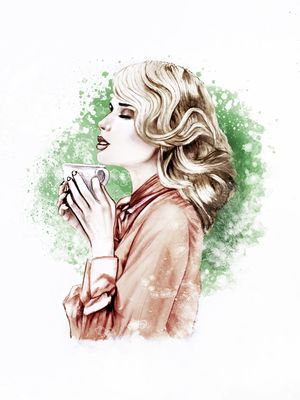 #illustration #fashionillustration #fashionportrait #portraitdrawing #illustrator #fashionillustrator #art #fashionart #fashionblogger #coffee #coffeetime #morning #coffeeadict #green #tea