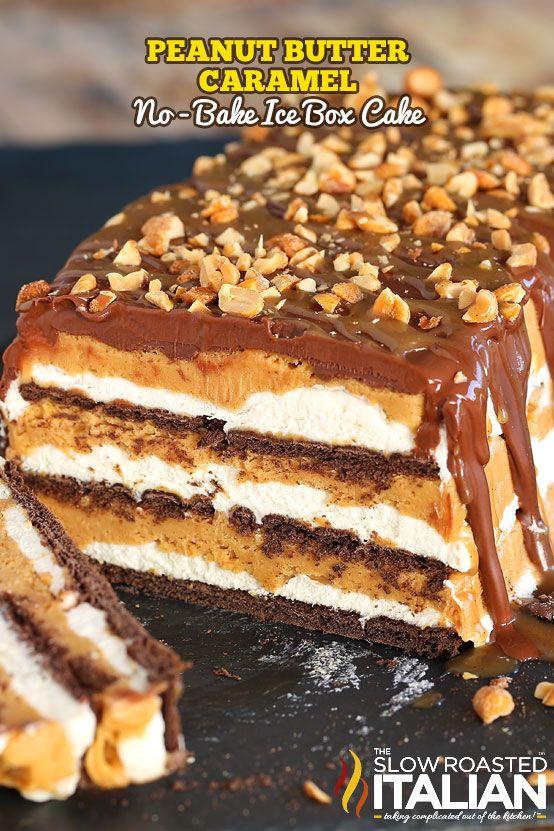 Peanut Butter Caramel No-Bake Ice Box Cake