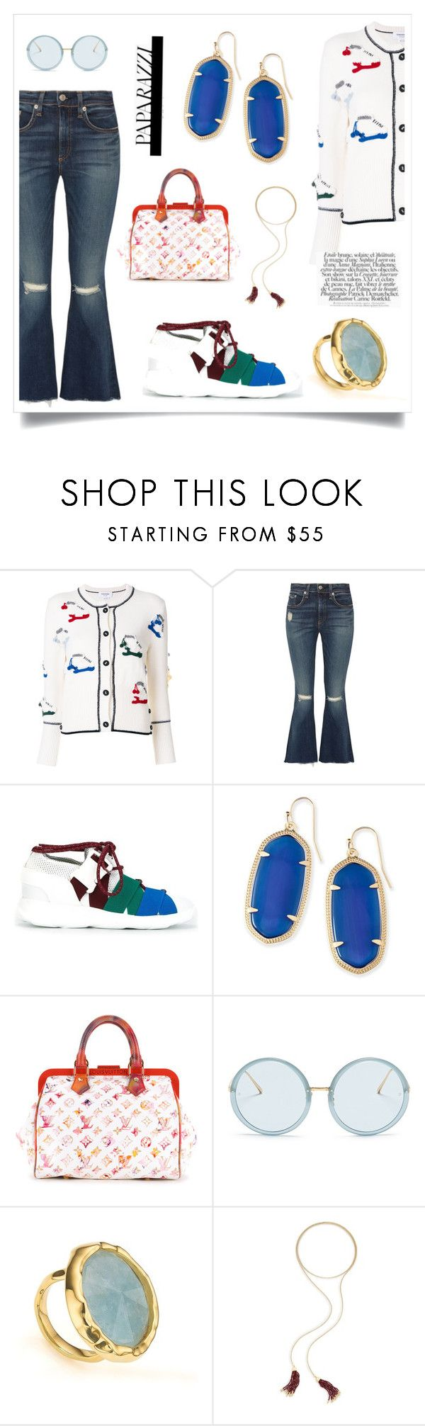 """""""Crewneck Cardigan With Crochet..**"""" by yagna on Polyvore featuring Thom Browne, rag & bone, Christopher Kane, Kendra Scott, Louis Vuitton, Linda Farrow and Monica Vinader"""