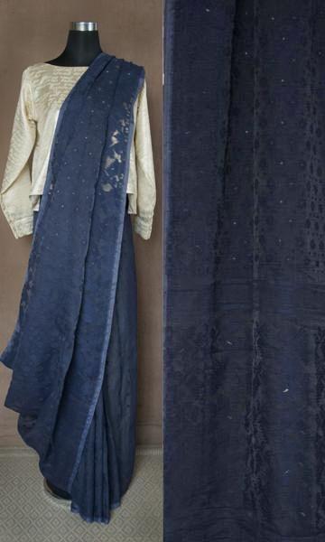 m61 Sabeki Old Bengal Hand Woven Soft Muslin Silk Cotton Jamdani Sari