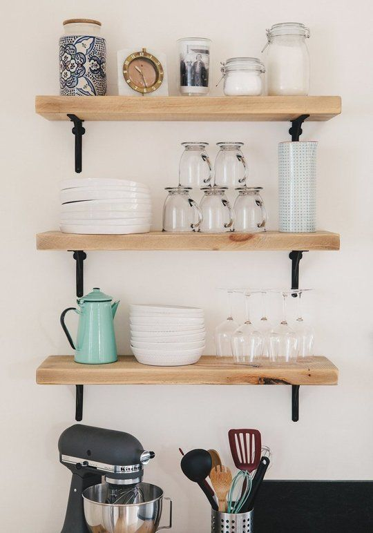 zero cost ways to make your open kitchen shelves look better. beautiful ideas. Home Design Ideas