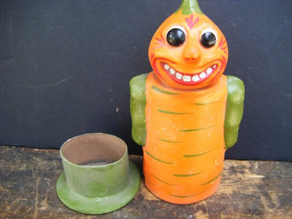 german candy containers | Vintage German Halloween Veggie Candy Container, Hand Painted Paper ...