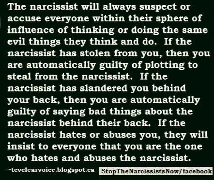 This is so true. I wish people understood more about how a narcissist projects his wrongs onto his target. If you just listen to what he accuses me of, you will find out everything he is guilty of himself. I am shocked at all the idiots who want to believe him. If they were only half as intelligent as they think they are we wouldn't be going through this bull. SB